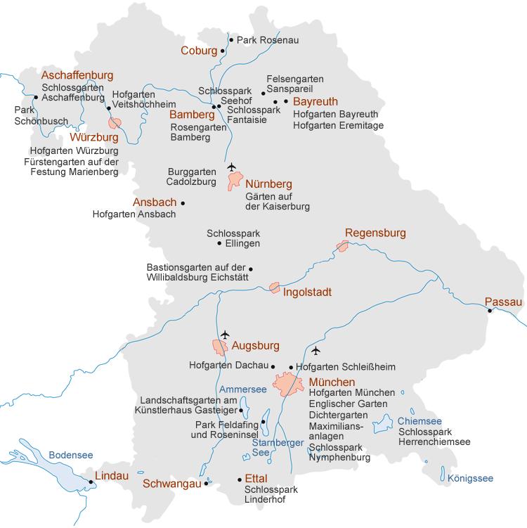 München Karte Bayern.Bayerische Schlösserverwaltung Gärten übersicht