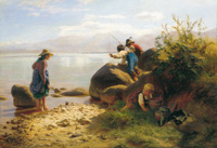 "Painting ""Fischende Kinder am Chiemsee"" (""Children fishing on the Chiemsee"")"
