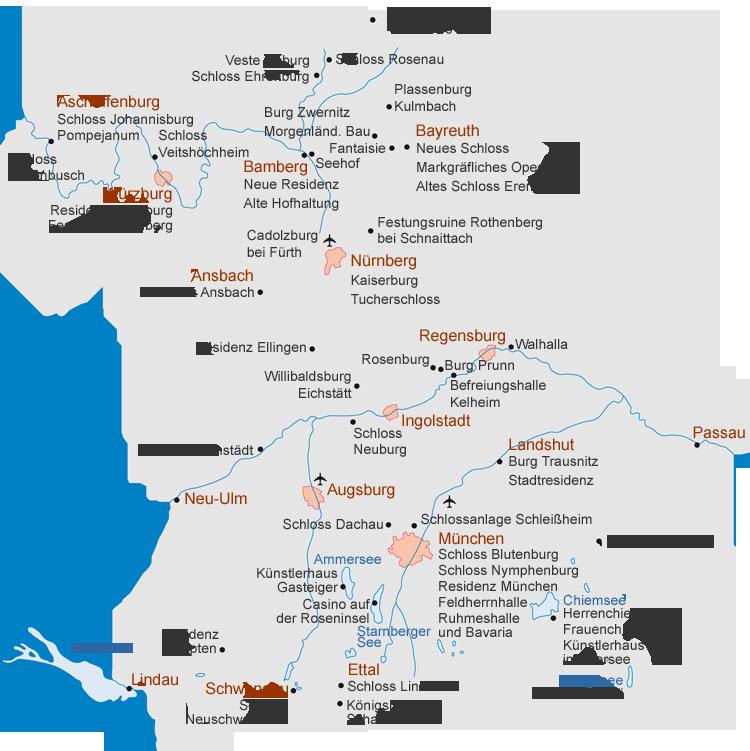 schlösser deutschland karte Bayerische Schlösserverwaltung | Schlösser | Übersicht