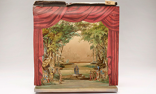 "Picture: Stage set model ""Meadow on the bank of the River Scheldt"", view of the front"