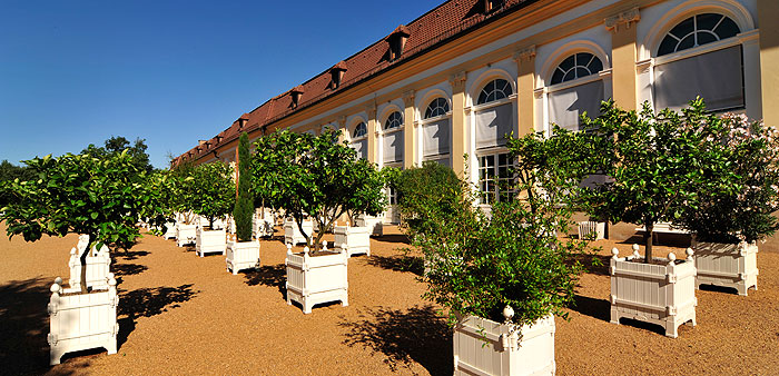 Picture: Ansbach Court Garden, plants in tubs in front of the orangery